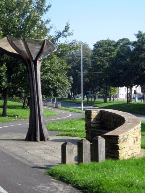 The Rhubarb Sculpture in Wakefield.   © Copyright Mike Kirby and licensed for reuse under this Creative Commons Licence.