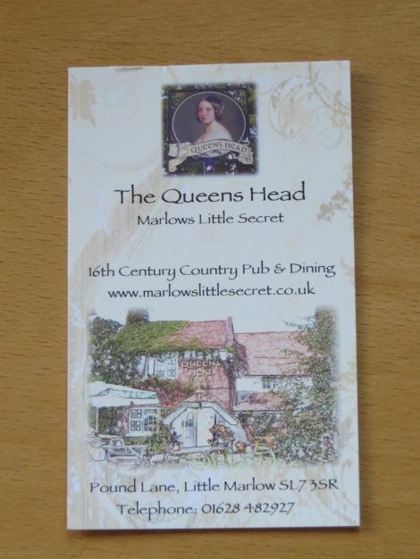 Eigenes Foto der Visitenkarte des Pubs.