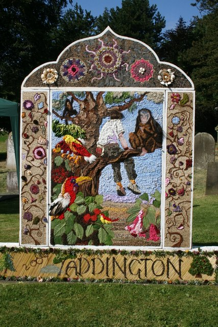 Well Dressing in Taddington.  © Copyright Ron Perry and licensed for reuse under this Creative Commons Licence.