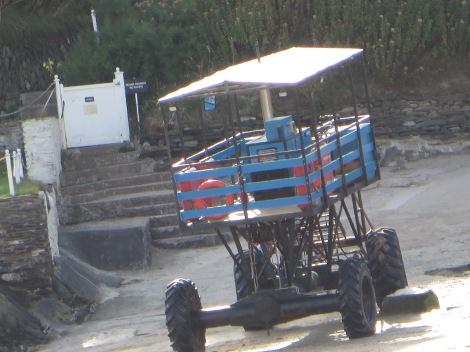 Der Sea Tractor vor dem Burgh Island Hotel. Eigenes Foto.