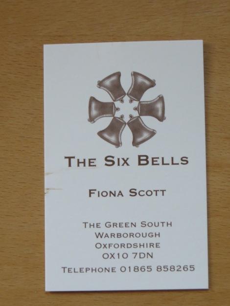 Eigenes Foto der Visitenkarte des Six Bells.