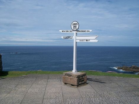 Land's End in Cornwall.I, the copyright holder of this work, release this work into the public domain.