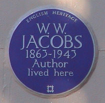 Plakette an W.W. Jacobs' Haus in der Londoner Gloucester Road. Source: LondonRemembers.com.
