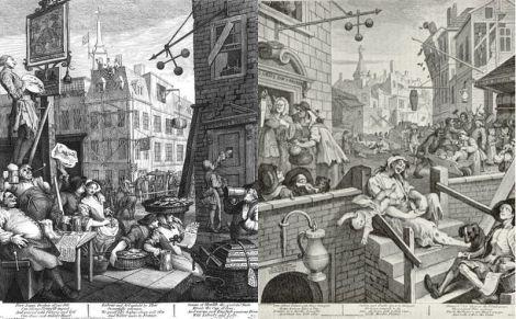 William Hogarth: Beer Street and Gin Lane. Diese Bild- oder Mediendatei ist gemeinfrei, weil ihre urheberrechtliche Schutzfrist abgelaufen ist.