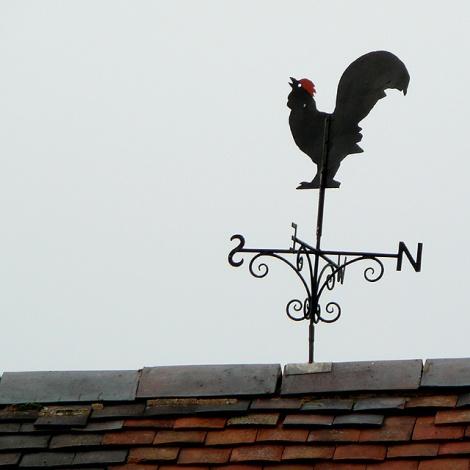Ein echter Wetterhahn auf dem Dach der Furnace Grange Farm bei Trescott (Staffordshire).   © Copyright Roger  Kidd