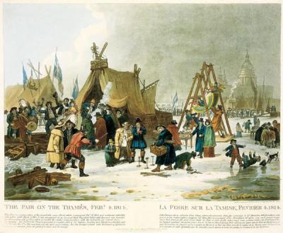 Die Frost Fair von 1814, gemalt von Luke Clenell (1781-1840). his image is in the public domain because its copyright has expired.
