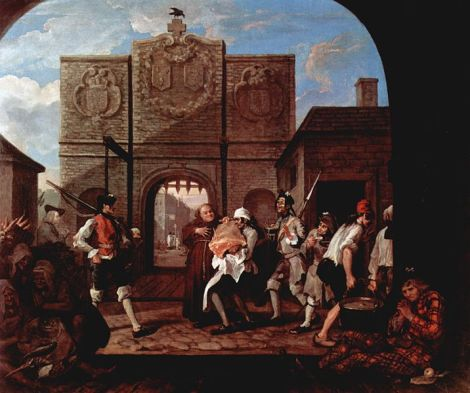 "Wiiliam Hogarts ""The Gate of Calais"". The work of art depicted in this image and the reproduction thereof are in the public domain worldwide."