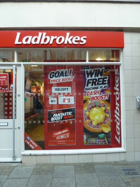 Ein Wettbüro von Ladbrokes in Dorchester (Dorset).    © Copyright Basher Eyre and   licensed for reuse under this Creative Commons Licence.