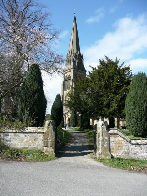 St Peter's in Edensor.   © Copyright Humphrey Bolton and licensed for reuse under this Creative Commons Licence.