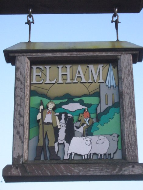 Das Elham Village Sign.    © Copyright David Anstiss and   licensed for reuse under this Creative Commons Licence.
