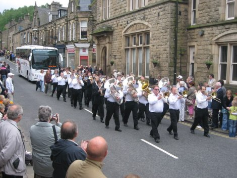 Brass Bands in Delph.   © Copyright Paul Anderson and licensed for reuse under this Creative Commons Licence.