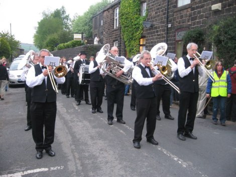 Brass Bands in Dobcross (Greater Manchester).   © Copyright Paul Anderson and licensed for reuse under this Creative Commons Licence.