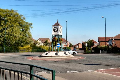 The Clock Roundabout in Hyde (Greater Manchester).   © Copyright Gerald England and licensed for reuse under this Creative Commons Licence.