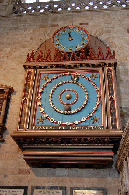 Die astronomische Uhr in der Kathedrale von Exeter.   © Copyright Julian P Guffogg and licensed for reuse under this Creative Commons Licence.