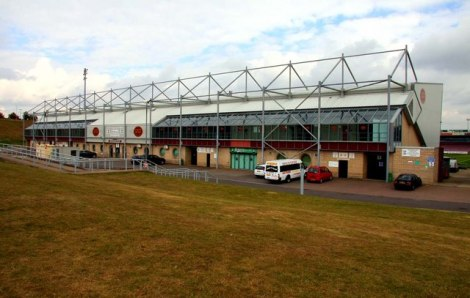 Northamptons Sixfield Stadium.   © Copyright Steve Daniels and licensed for reuse under this Creative Commons Licence.