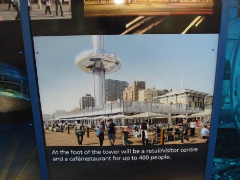 Das Plakat am West Pier zeigte bei meinem Besuch im Januar 2012 schon wie der Turm einmal aussehen sollte. Eigenes Foto.
